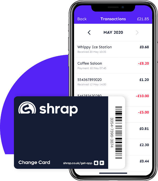 Shrap replaces coins, and enables fee-free mobile payments.